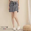 東京著衣 格紋學院風甜美綁帶短裙-S.M(共二色)
