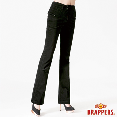 BRAPPERS 女款 新美尻二代系列-女用中腰條絨彈性大喇叭褲-黑