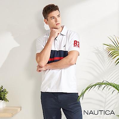 Nautica幾何圖騰短袖POLO衫-白色