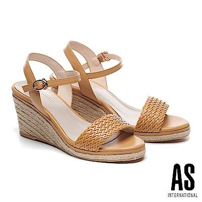 涼鞋 AS 編織造型草編楔型一字高跟涼鞋-黃