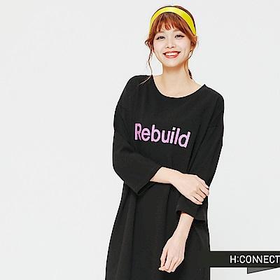 H:CONNECT 韓國品牌 女裝-正反文字側開岔洋裝-黑