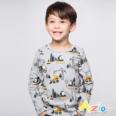Azio Kids 男童 上衣 滿版工程車長袖T恤(灰)