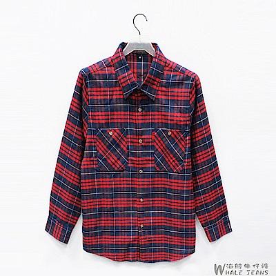 WHALE JEANS 男款秋冬成穩色調格紋長袖襯衫
