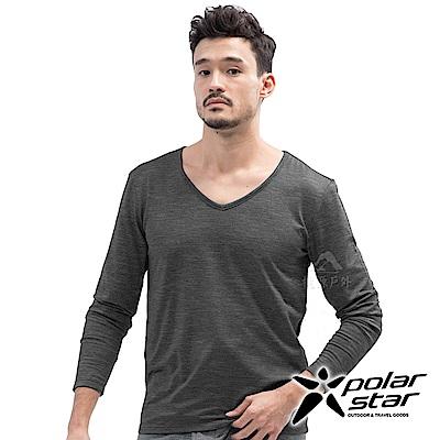 PolarStar 男 遠紅外線V領保暖衣『黑色』 P18227