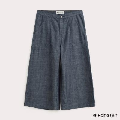 Hang-Ten-女裝-WIDE FIT輕磅七分牛仔寬褲-灰