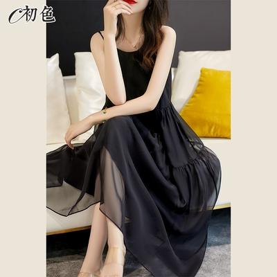 初色  網紗吊帶連身裙-黑色-(M-XL可選)