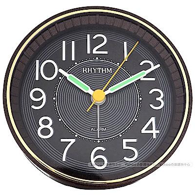 RHYTHM 麗聲 時尚珠光質感LED夜光鬧鐘-星鑽棕/9cm