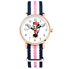Disney 迪士尼 米妮手指針 米奇 兒童卡通 尼龍手錶-白x玫瑰金框x藍粉/29mm