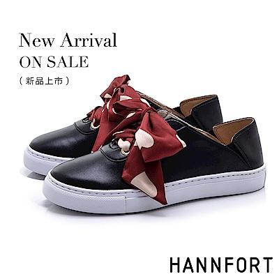 HANNFORT CAMPUS 愛心緞帶後踩休閒鞋-女-黑