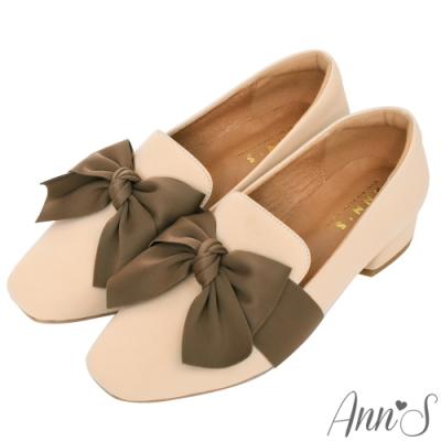 Ann'S清甜女孩-造型立體大蝴蝶結紳士鞋-杏
