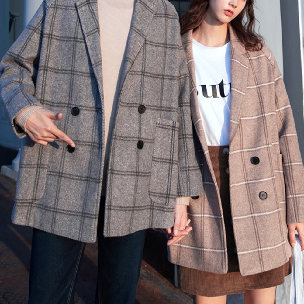 BuyGlasses 情侶格紋復古大衣外套
