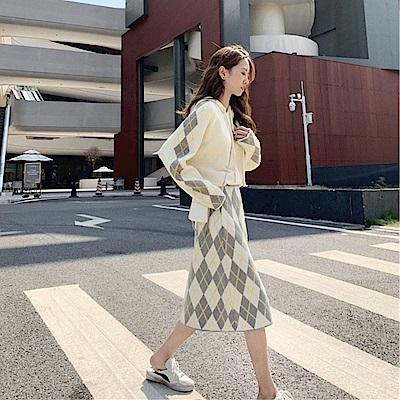 DABI 韓系寬松休閒針織衫毛衣裙套裝長袖裙裝