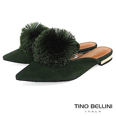 Tino Bellini宮廷風尚蓬蓬線球穆勒鞋_綠