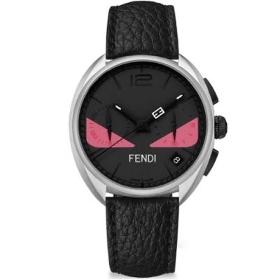 FENDI芬迪 Momento Bugs系列小怪獸計時手錶-黑x粉眼/40mm/F214011711