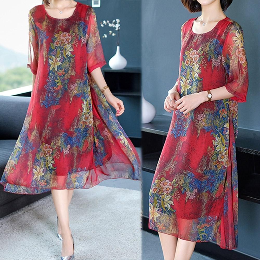 【韓國K.W.】動感都會花色優雅印花洋裝-2色