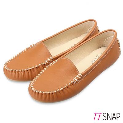TTSNAP莫卡辛-MIT素面質感真皮豆豆鞋 棕