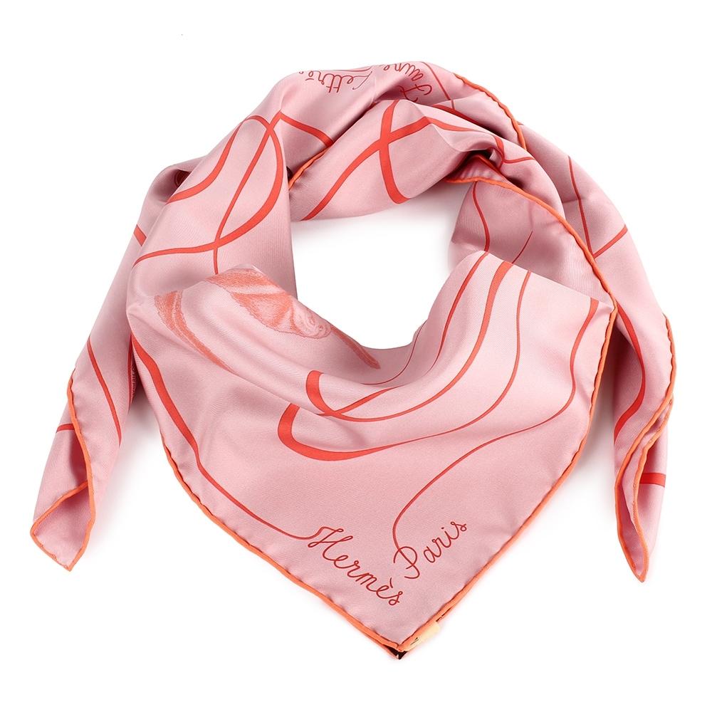 HERMES  Faune Lettree動物字母披肩方型絲巾-粉色