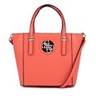 GUESS-女包-素色金屬logo裝飾托特包-橘