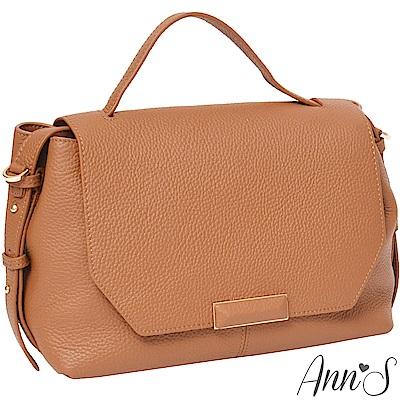Ann'S都會OL-頂級牛皮全真皮手提肩背兩用包-棕