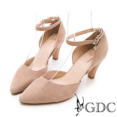 GDC-真皮氣質尖頭繞踝中跟鞋-裸色
