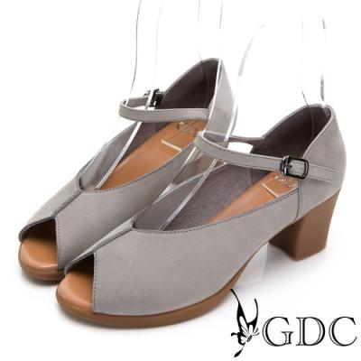GDC-時尚女孩真皮素色魚口瑪莉珍跟鞋-灰色