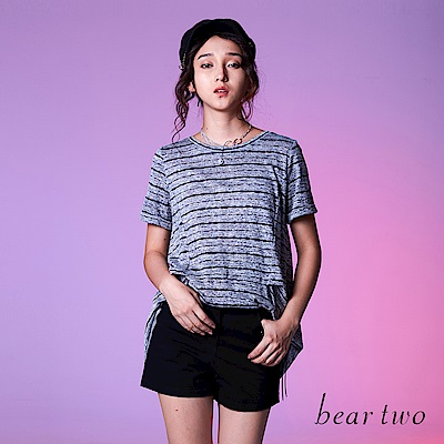 beartwo時尚休閒條紋剪接長版上衣(二色)