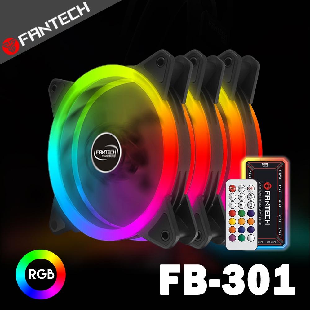FANTECH 雙面光圈遙控RGB燈效電腦風扇套組(FB-301)