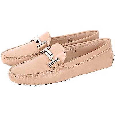 TOD'S Double T 金屬設計奶茶色豆豆休閒鞋(36.5號/展示品)