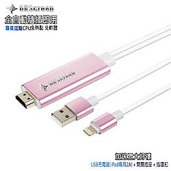 【CL11玫瑰金】三代OKScreen蘋果專用 HDMI鏡像影音線(加送3大好禮)