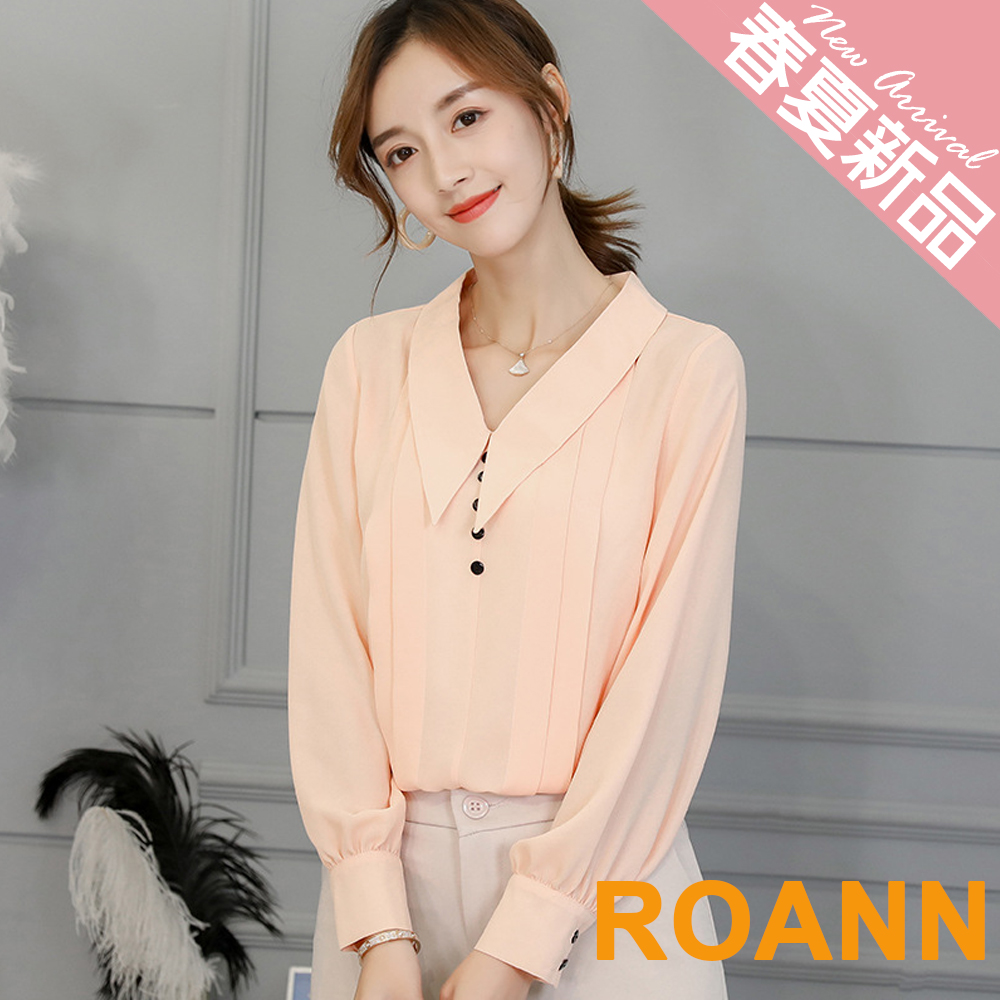 純色V領鈕扣裝飾雪紡襯衫 (共四色)-ROANN