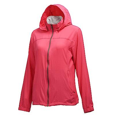 荒野【wildland】女彈性透氣抗UV輕薄外套桃紅色