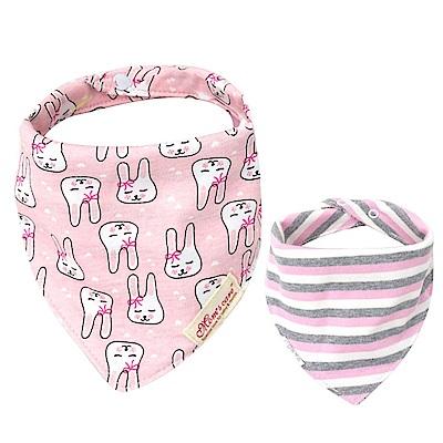 Baby unicorn 粉底小白兔純棉雙面圍兜
