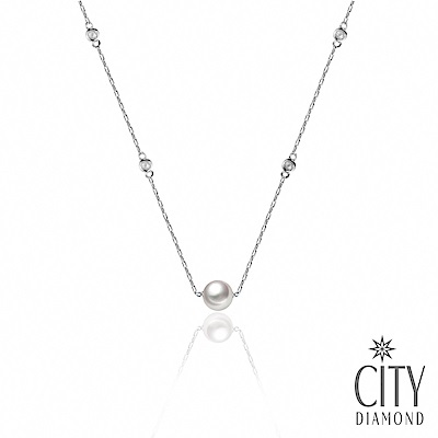 City Diamond引雅 AKOYA珍珠水鑽純銀925項鍊(東京Yuki系列)