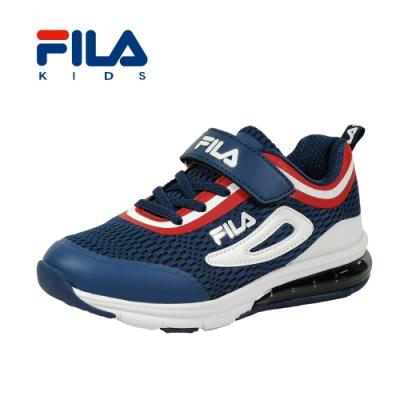 FILA 氣墊慢跑鞋 藍紅 大童(6~12歲) 3-J809T-321
