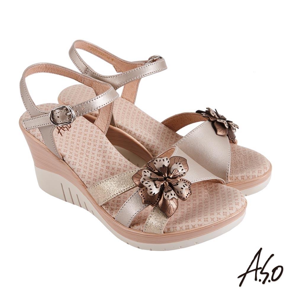 A.S.O 機能休閒 厚底美學立體花卉楔型涼鞋-卡其