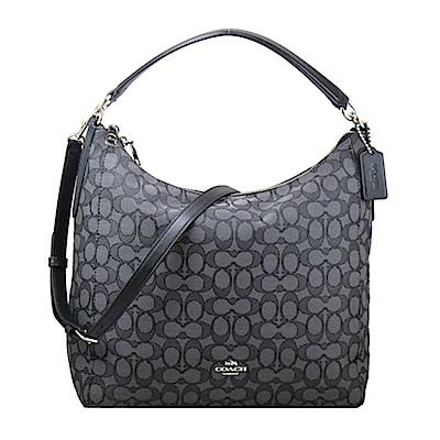 COACH大包-熱銷美型織紋兩用包(框框黑灰)
