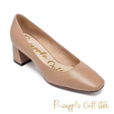 Pineapple Outfitter 質感皮質小方頭粗跟鞋-藕粉色