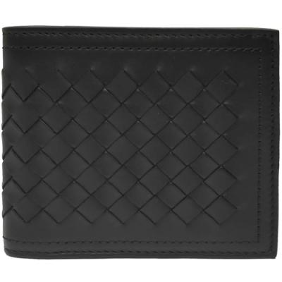 BOTTEGA VENETA  經典編織拼接小羊皮中性短夾(黑色-8卡)