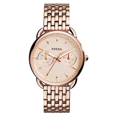 FOSSIL 洗鍊感經典鋼帶玫瑰金腕錶(ES 3713 )-玫瑰金/ 35 mm