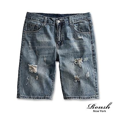 Roush 基本款水洗刷破牛仔短褲