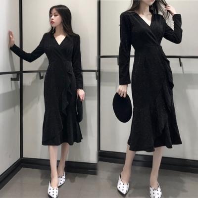 【韓國K.W.】奢華晚宴V領包臀修身洋裝-1色
