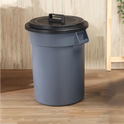 創意達人 KEYWAY圓周大容量附蓋垃圾桶130L -1入組