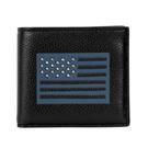 COACH黑色荔枝紋全皮美國旗八卡雙摺對開男夾