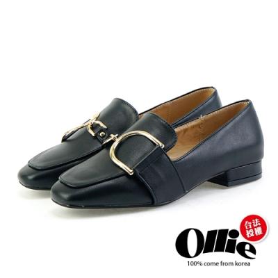 Aviator韓國空運-金屬方頭皮革樂福鞋-ollie預購