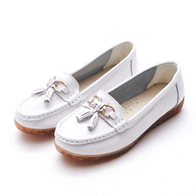 A one  牛皮莫卡辛燈籠馬銜扣鍊休閒鞋-白色