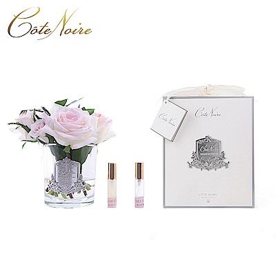 法國 CoteNoire 蔻特蘭 維多利亞粉白玫瑰香氛花透明瓶