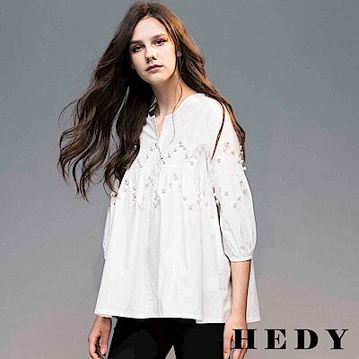 Hedy赫蒂 鋸齒綴珠七分袖傘狀上衣(共兩色)
