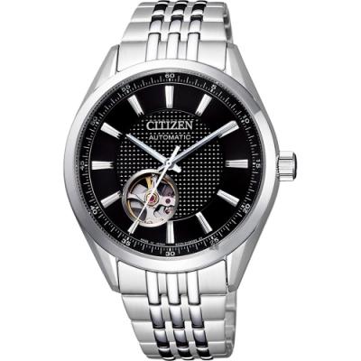 CITIZEN 星辰 小鏤空機械錶-黑x銀/40mm(NH9110-81E)