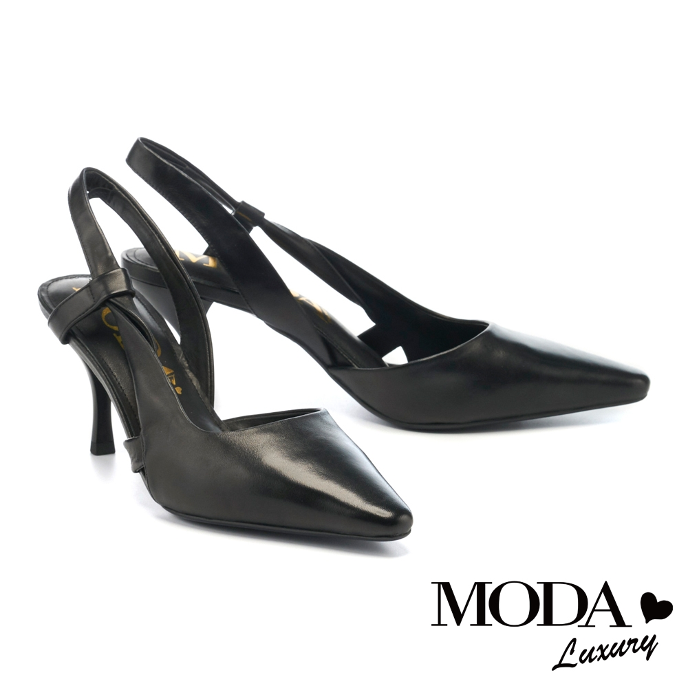 高跟鞋 MODA Luxury 時尚極簡繞踝後繫帶羊皮尖頭高跟鞋-黑