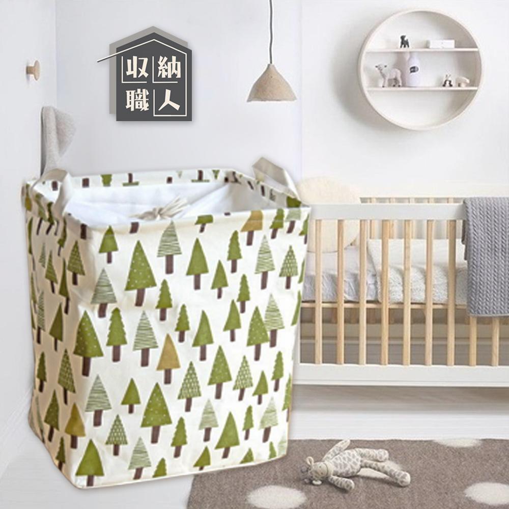 【收納職人】北歐童話棉麻方型束口折疊收納籃/洗衣籃/髒衣籃-白底小綠樹